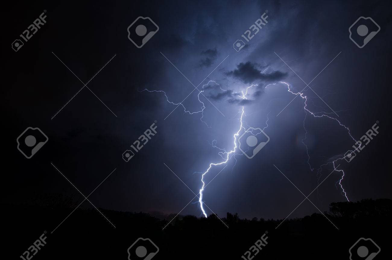 Lightning, Weather and Storms in night skies Stock Photo - 45306349