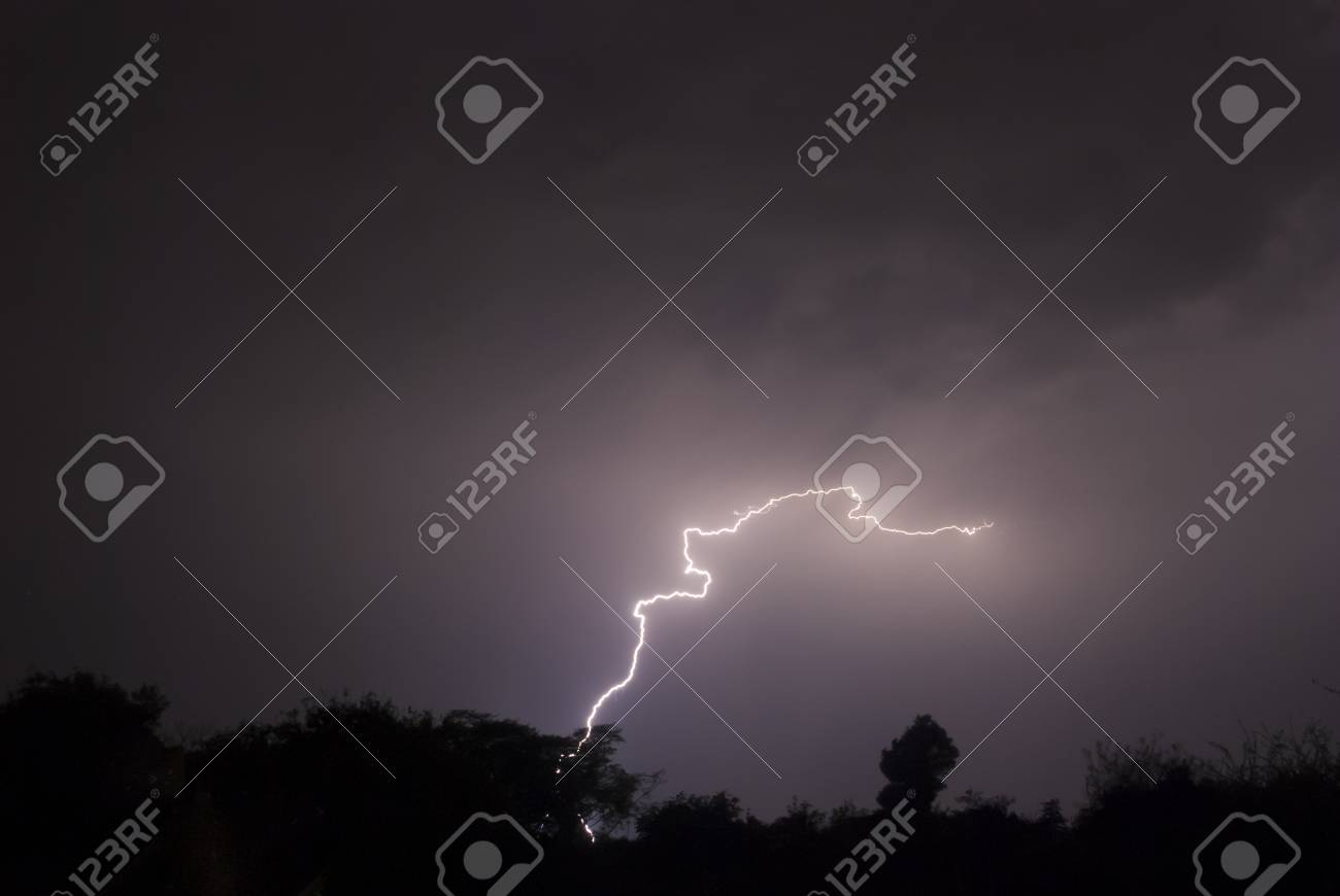 Winding Snake like cloud to ground lightning Stock Photo - 46912689