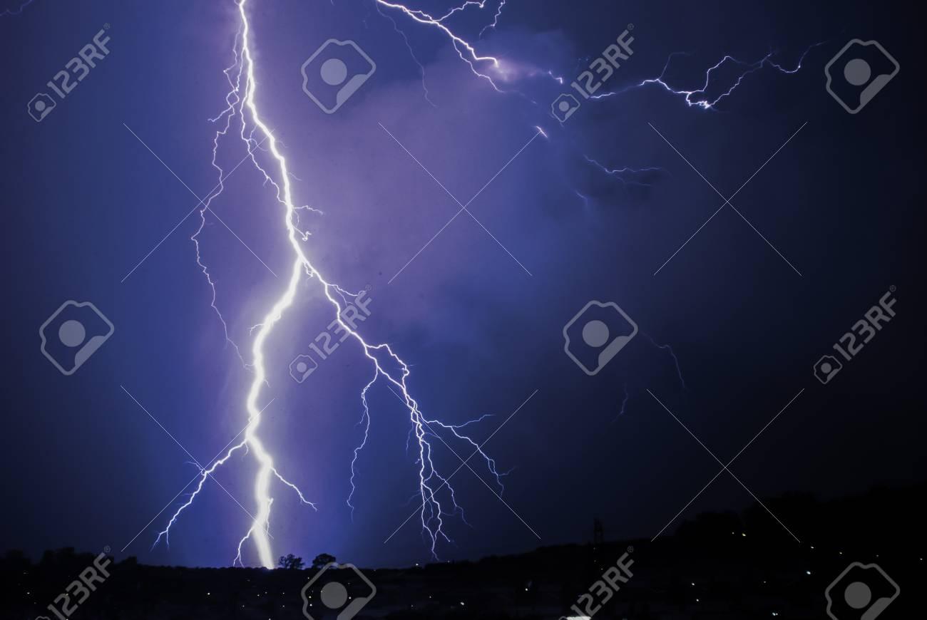 Bing Bang lightning strike on the horizon Stock Photo - 46912695