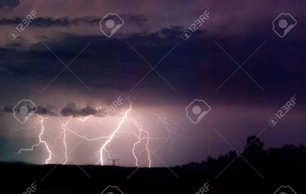 Multiple strikes of cloud to ground lightning Stock Photo - 46937930