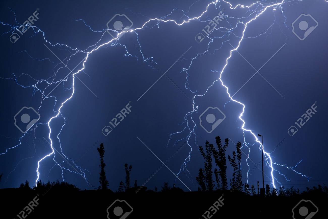 Double Trouble Cloud to Ground Lightning Stock Photo - 55407752