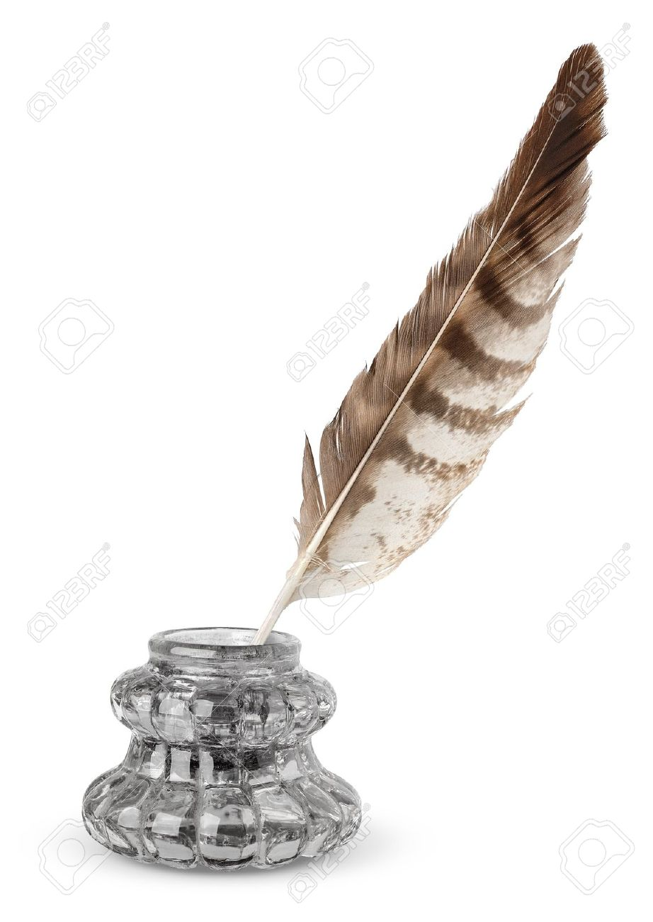 Old inkstand and quill isolated on white Stock Photo - 7717365