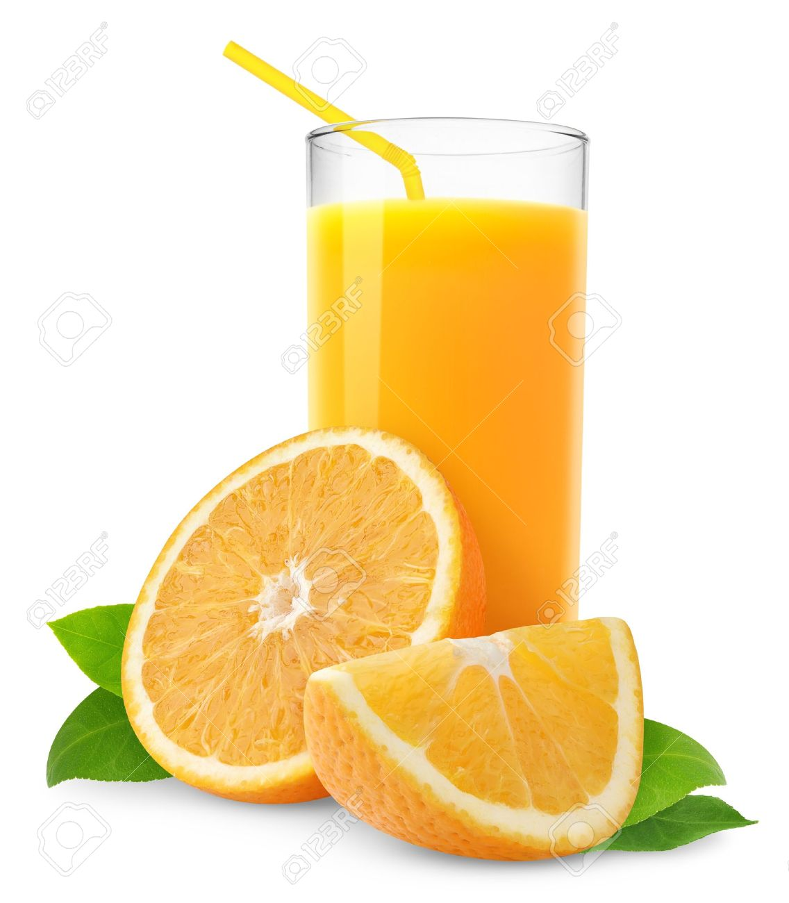 orange juice and slices of orange isolated on white stock photo