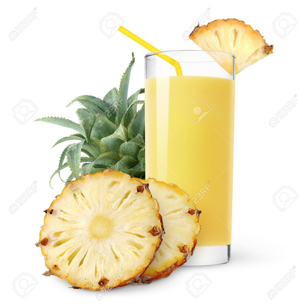 Pineapple juice and slices of pineapple isolated on white Stock Photo - 8380380