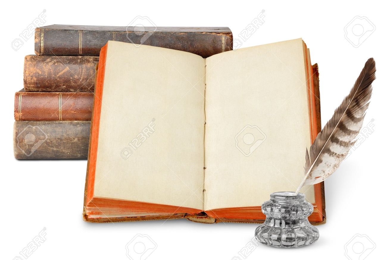Old books and inkstand isolated on white Stock Photo - 8420155