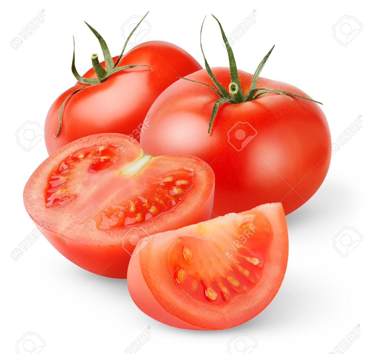 Fresh tomatoes isolated on white - 8475276
