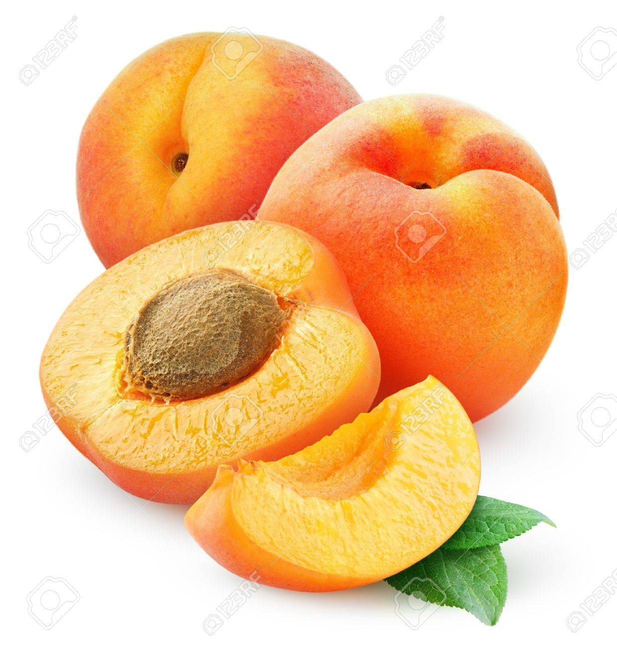 Fresh apricots isolated on white Stock Photo - 16380910