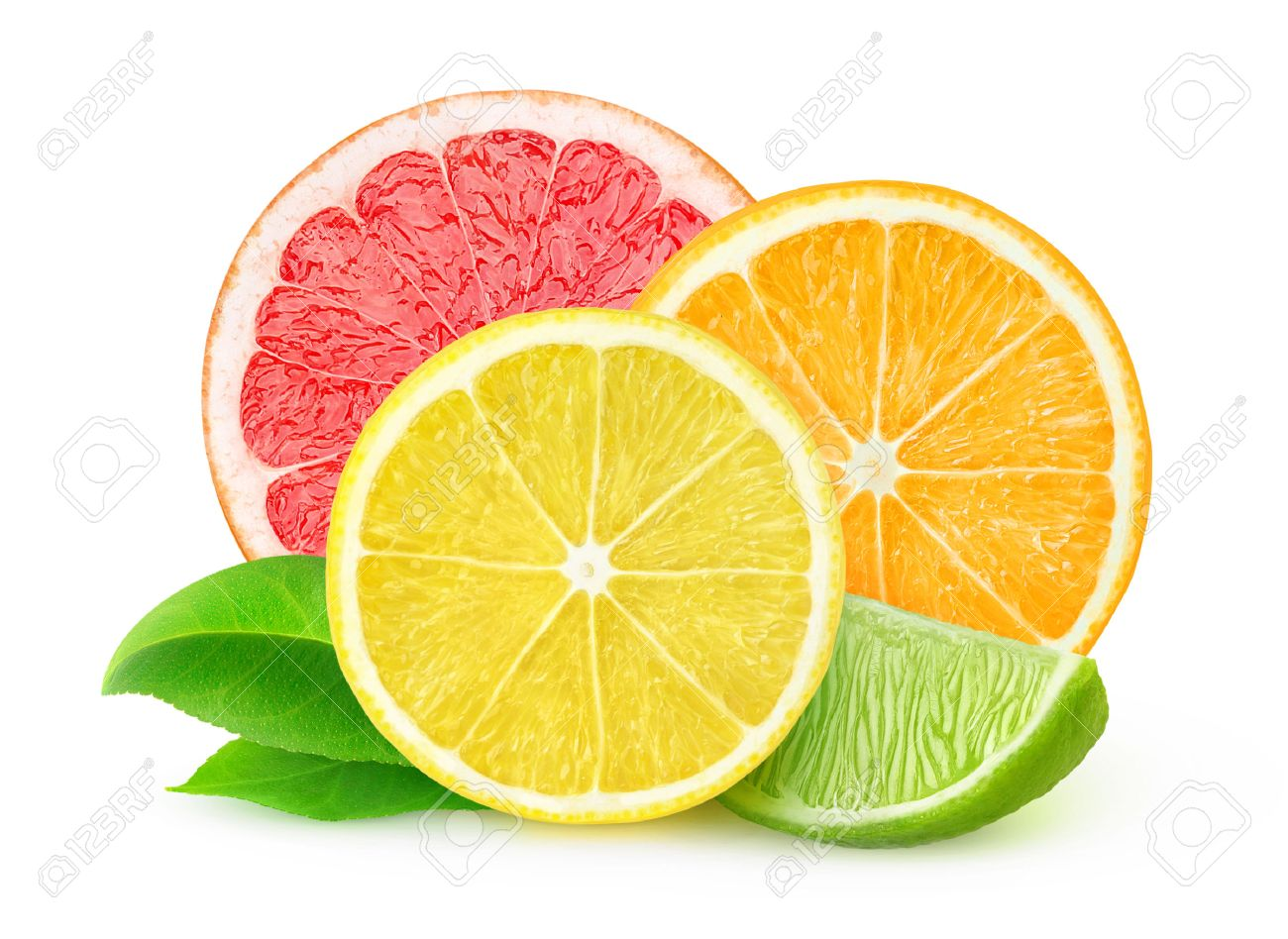 slices of various citrus fruits isolated on white with clipping
