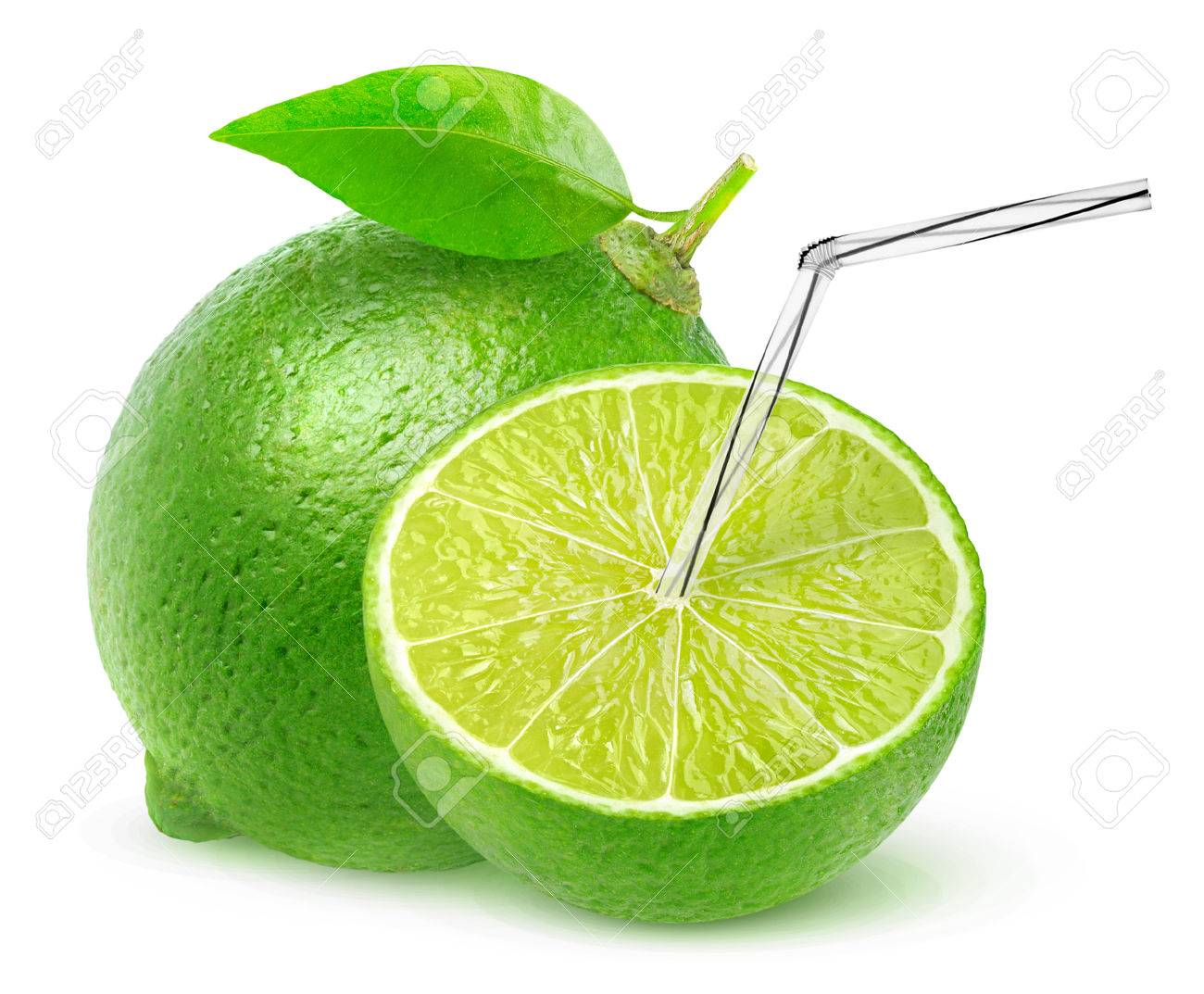 Isolated Green Lemon Juice One And A Half Lime Fruit With Straw Stock Photo Picture And Royalty Free Image Image 65097148