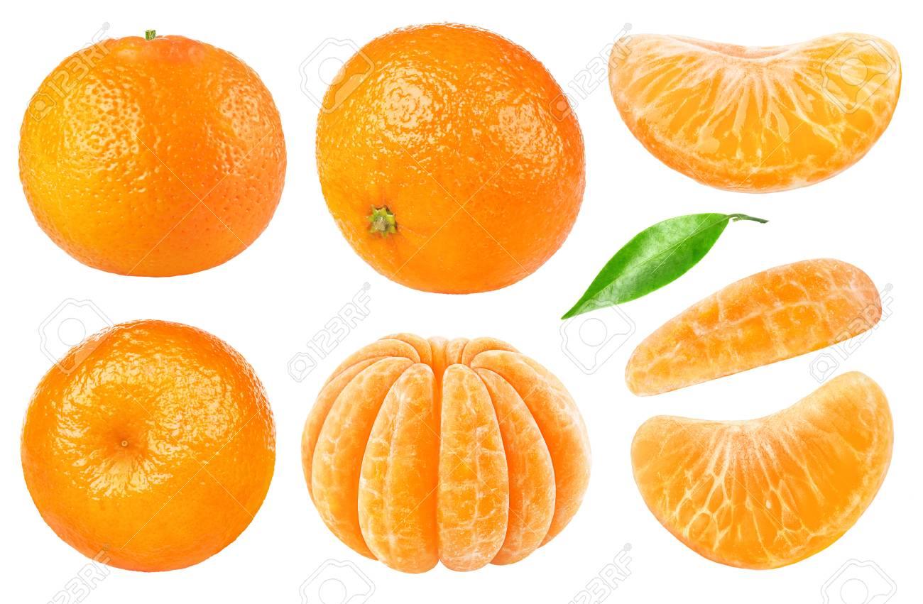 Colección de cítricos aislados. Mandarinas enteras o frutas de naranja  mandarina y segmentos pelados aislados 7e30d0b708c6