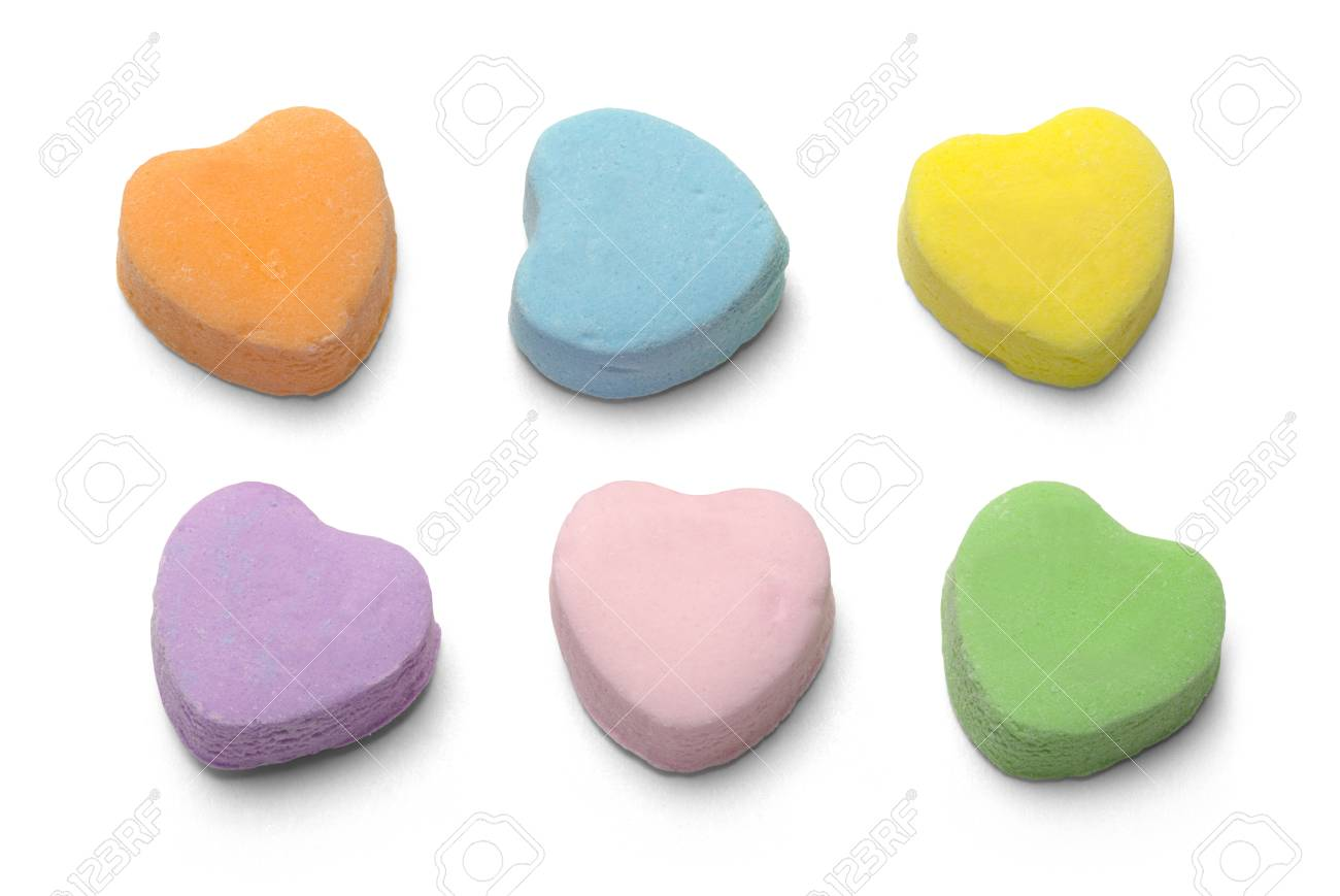 Blank Candy Valentiens Hearts Isolated on White Background. - 66211711