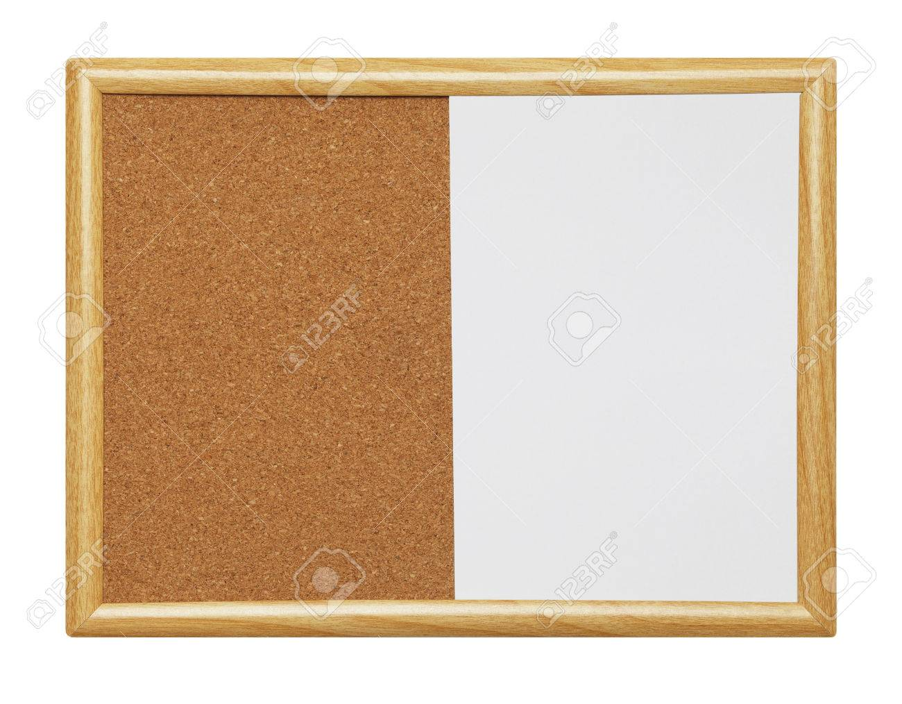 empty framed dry erase wood cork board isolated on a white background stock photo