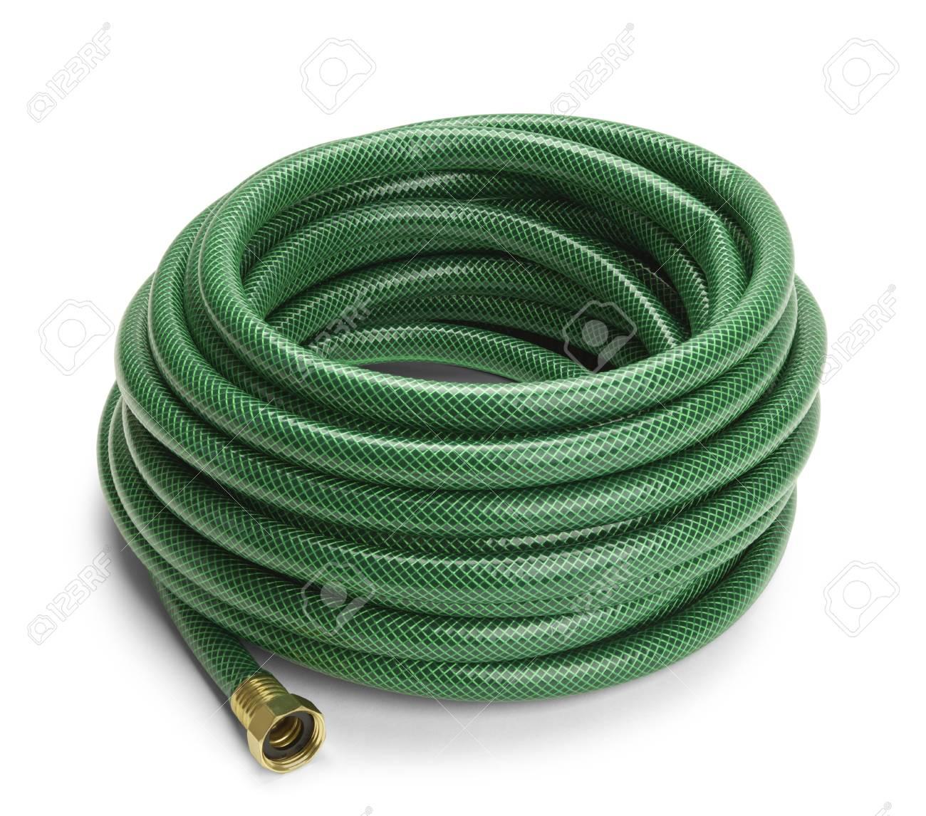 Green Garden Hose Rolled Up Isolated On A White Background. Stock Photo    66211796