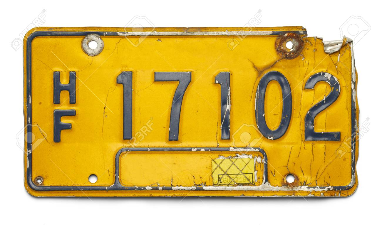 Old Yellow Bent Up License Plate Isolated On A White Background ...