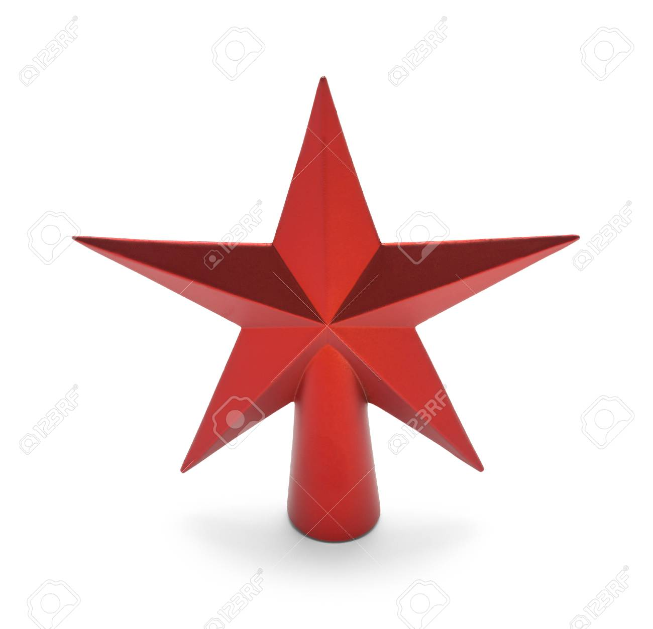 Red Star Christmas Tree Topper Isolated On White Background