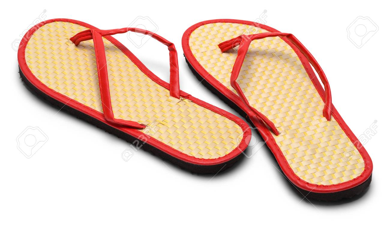 c1768648dd4a Pair of Woven Flip Flops Facing Away Isolated on a White Background. Stock  Photo -