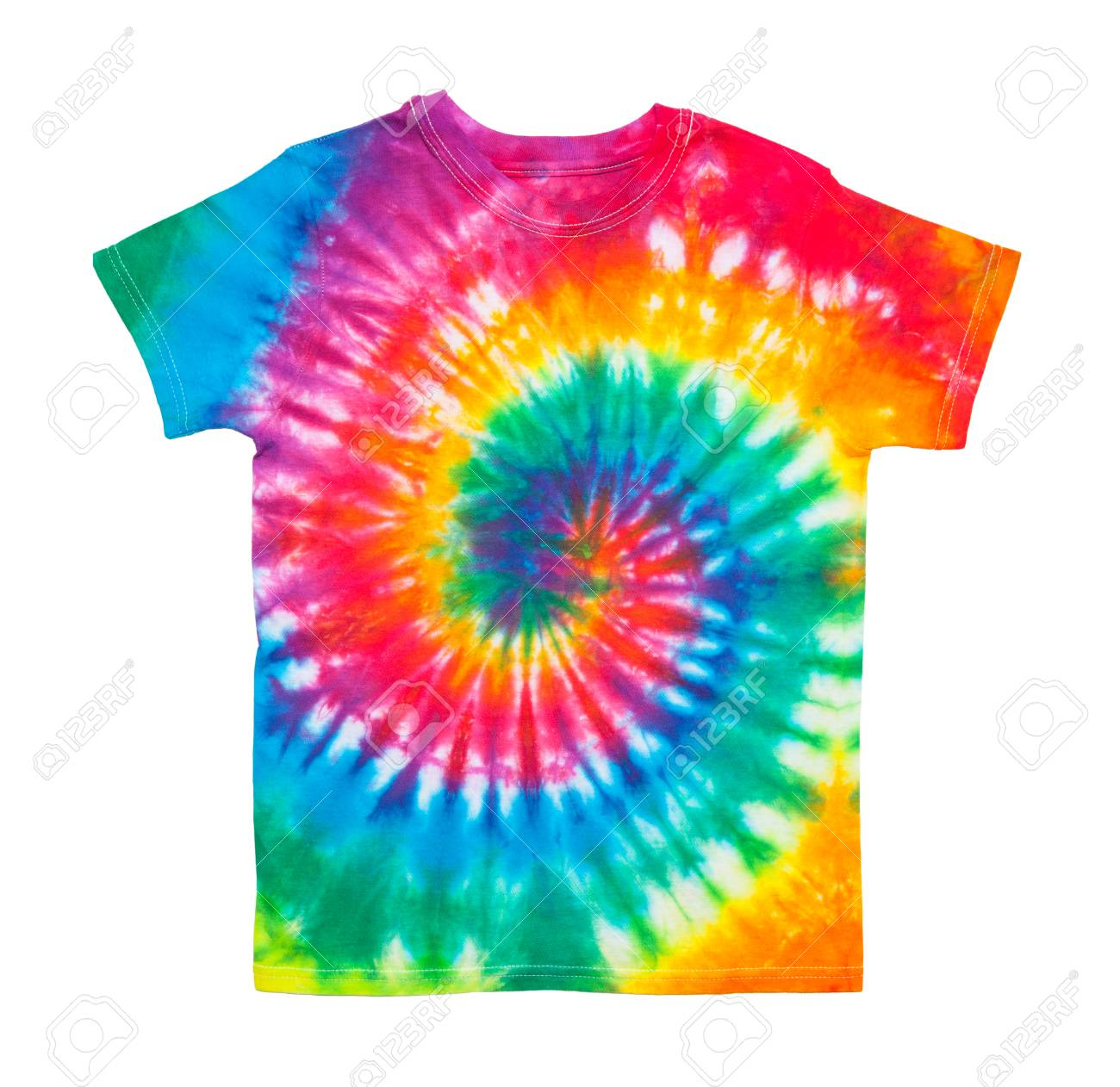 e0895ce1 Spiral Tie Dye Shirt Isolated on White Background. Stock Photo - 92402603