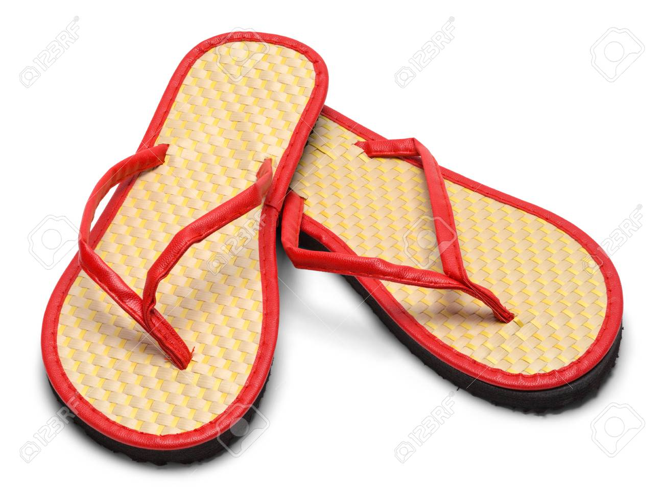 b7bb9a99a Pair of woven Flip Flops Isolated on a White Background. Stock Photo -  87912602