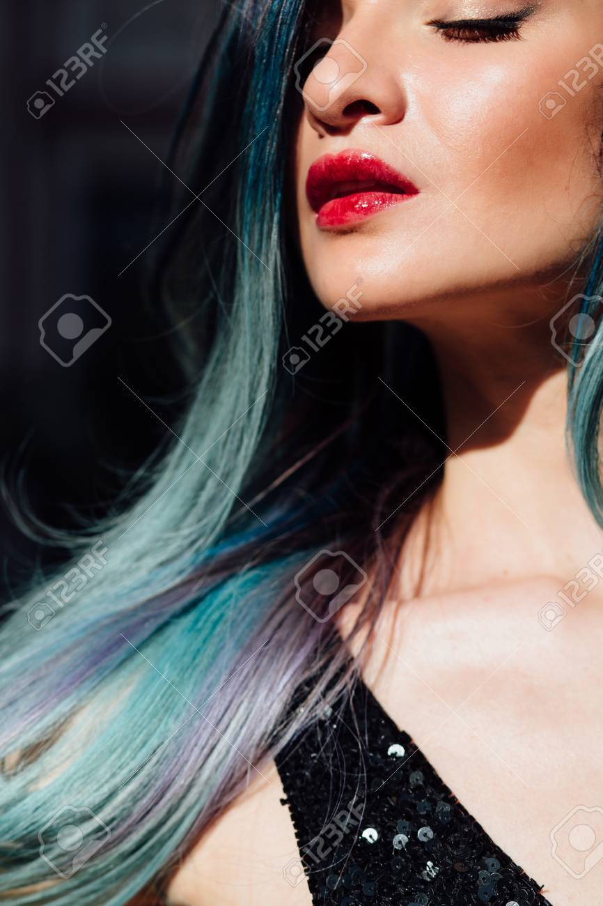 Fashion Portrait Of Gorgeous Girl With Blue Dyed Hair Long The