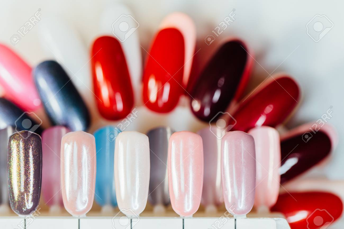 Nail Samples, Big Collection Of Finger Nails In Various Color Stock ...