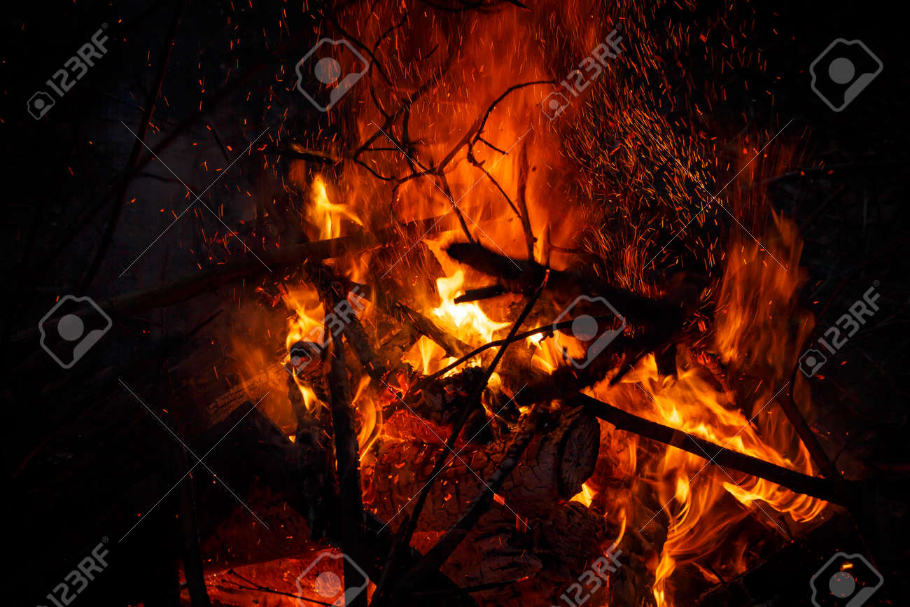 Billion rising sparks from a powerful bonfire, colorful space effect - 159103433