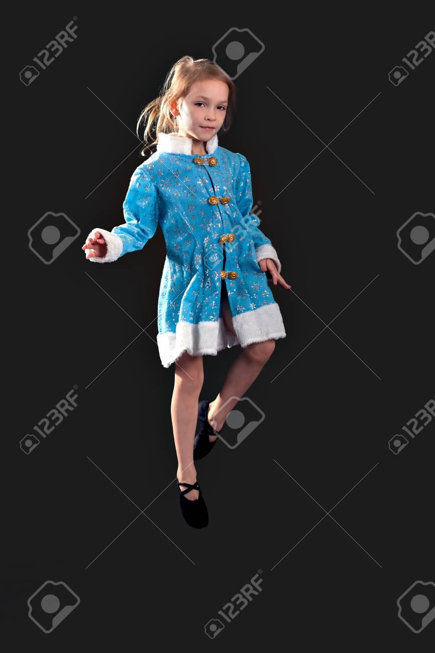 Blue Dress. Black Ballet.. Stock Photo