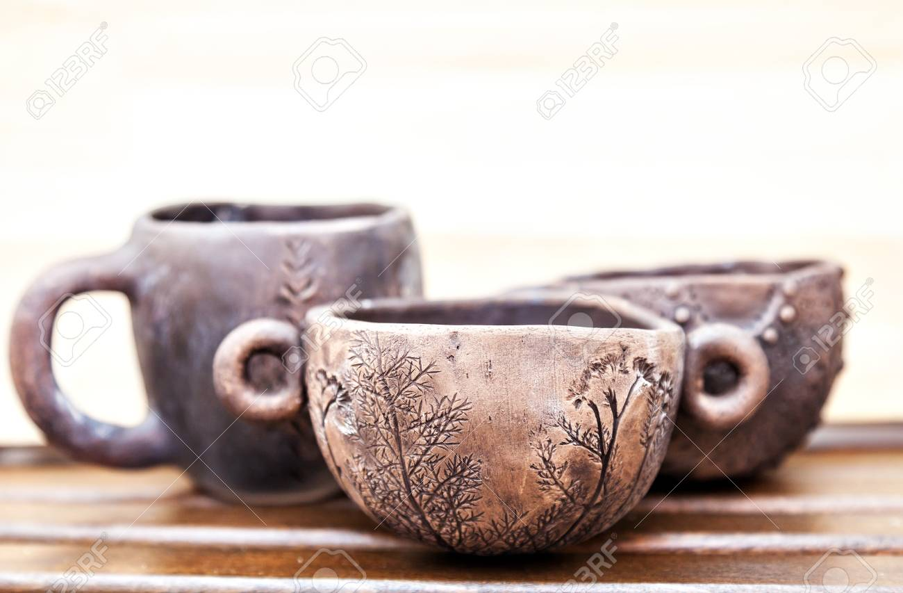 Pottery from natural materials. Handmade ceramic cups.