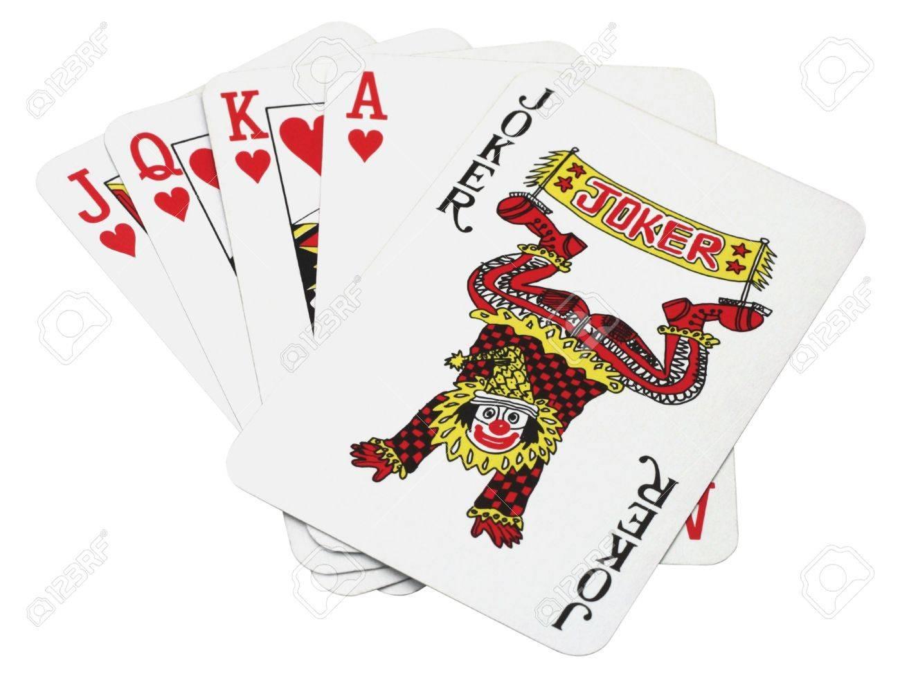 Lucky set of cards, Joker royal flush Stock Photo - 4846388
