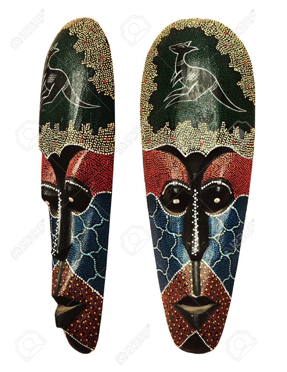 Wooden Mask Of Aboriginal Idol Indigenous Woodcraft From