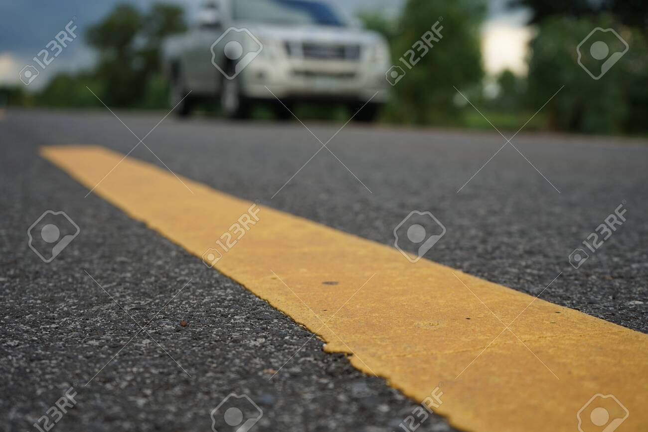 Road traffic paint on the asphalt surface And to ensure safety