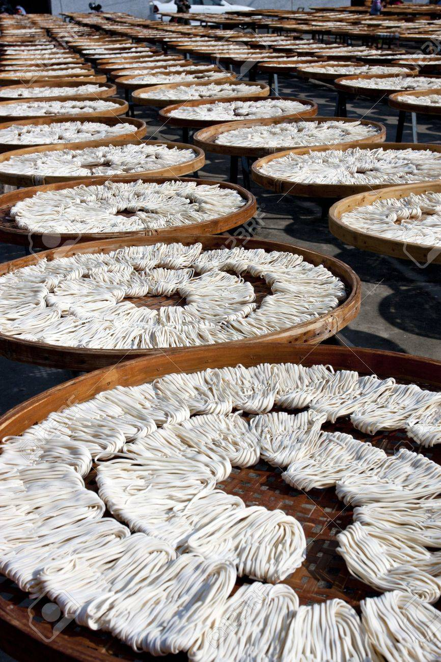 detail view of noodles under fabricate on sunbath at Guan Temple in Tainan,2011 in Taiwan Stock Photo - 11372990