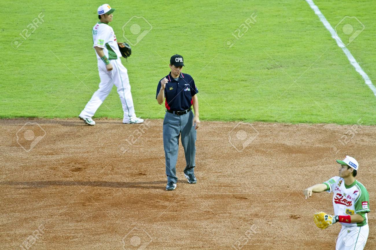 Tianmu, Taiwan - September 1,2012 :  a referee of CPBL, judge out for the Chinese Professional Baseball League game on September 1, 2012 at Tianmu Stadium, Taipei, Taiwan. Stock Photo - 15156516