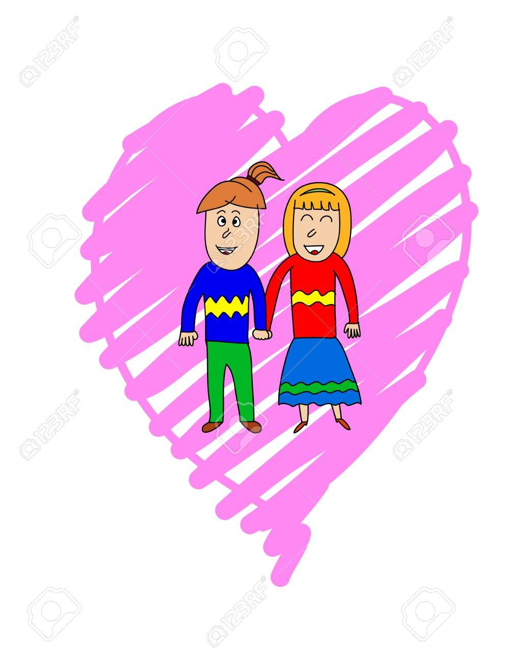 A couple in love holding hands over pink heart background. Valentine's Day two people in love holding hands. Stock Vector - 17333416