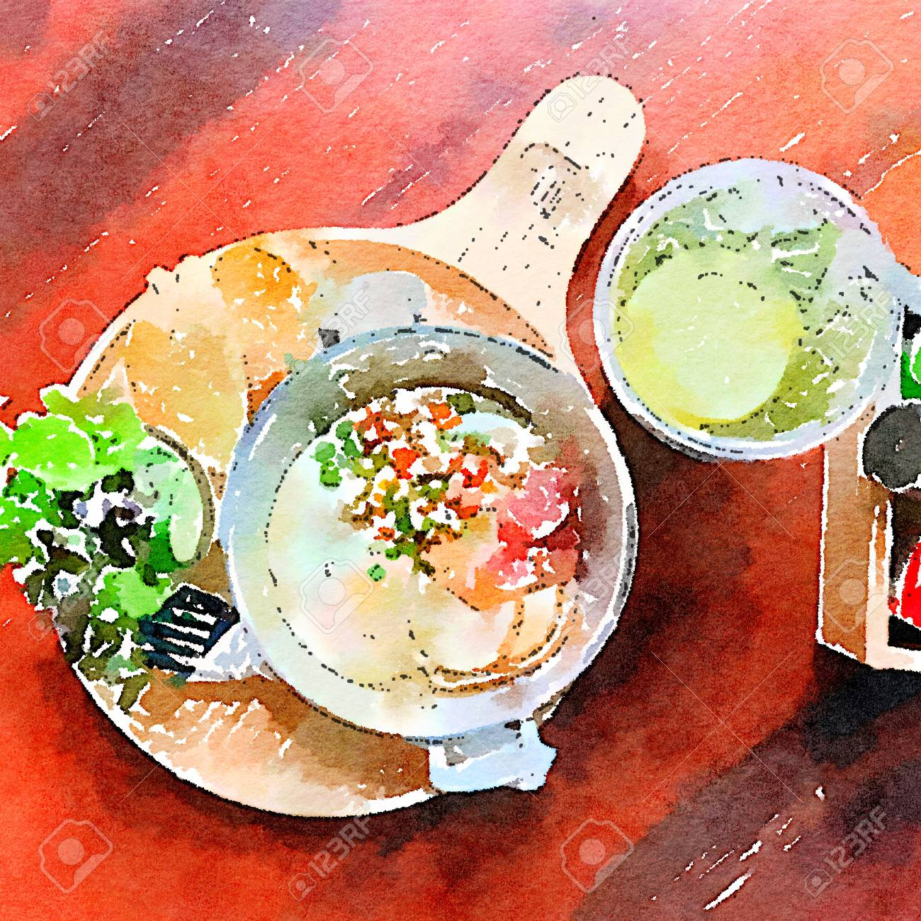 Thai Style Breakfast Water Color Paint Fired Egg Minced Pork Stock Photo Picture And Royalty Free Image Image 98608593