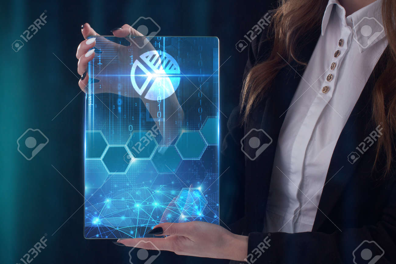 The concept of business, technology, the Internet and the network. A young entrepreneur working on a virtual screen of the future and sees the inscription: pie chart - 123235486