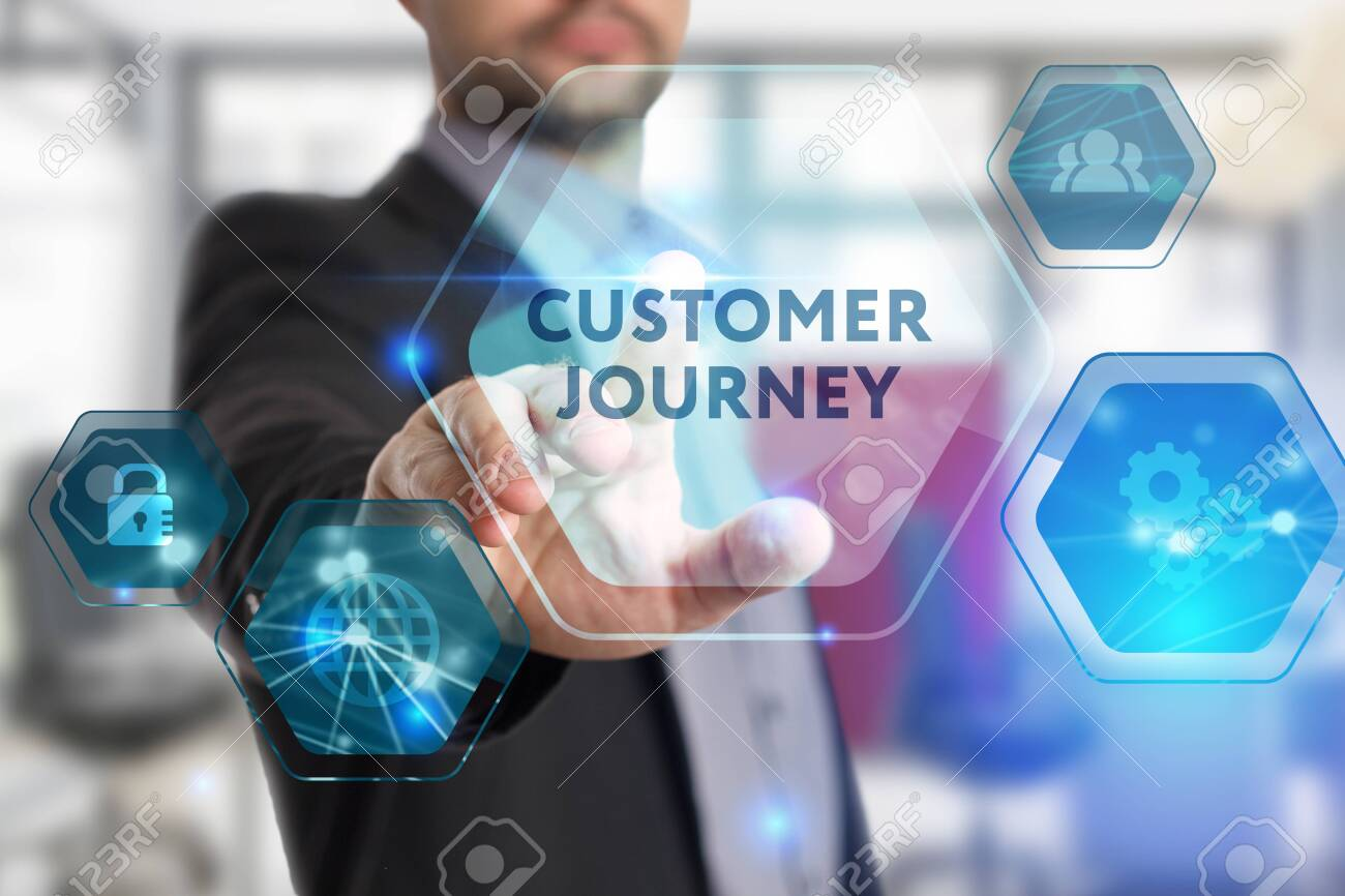 The concept of business, technology, the Internet and the network. A young entrepreneur working on a virtual screen of the future and sees the inscription: Customer journey - 125508107