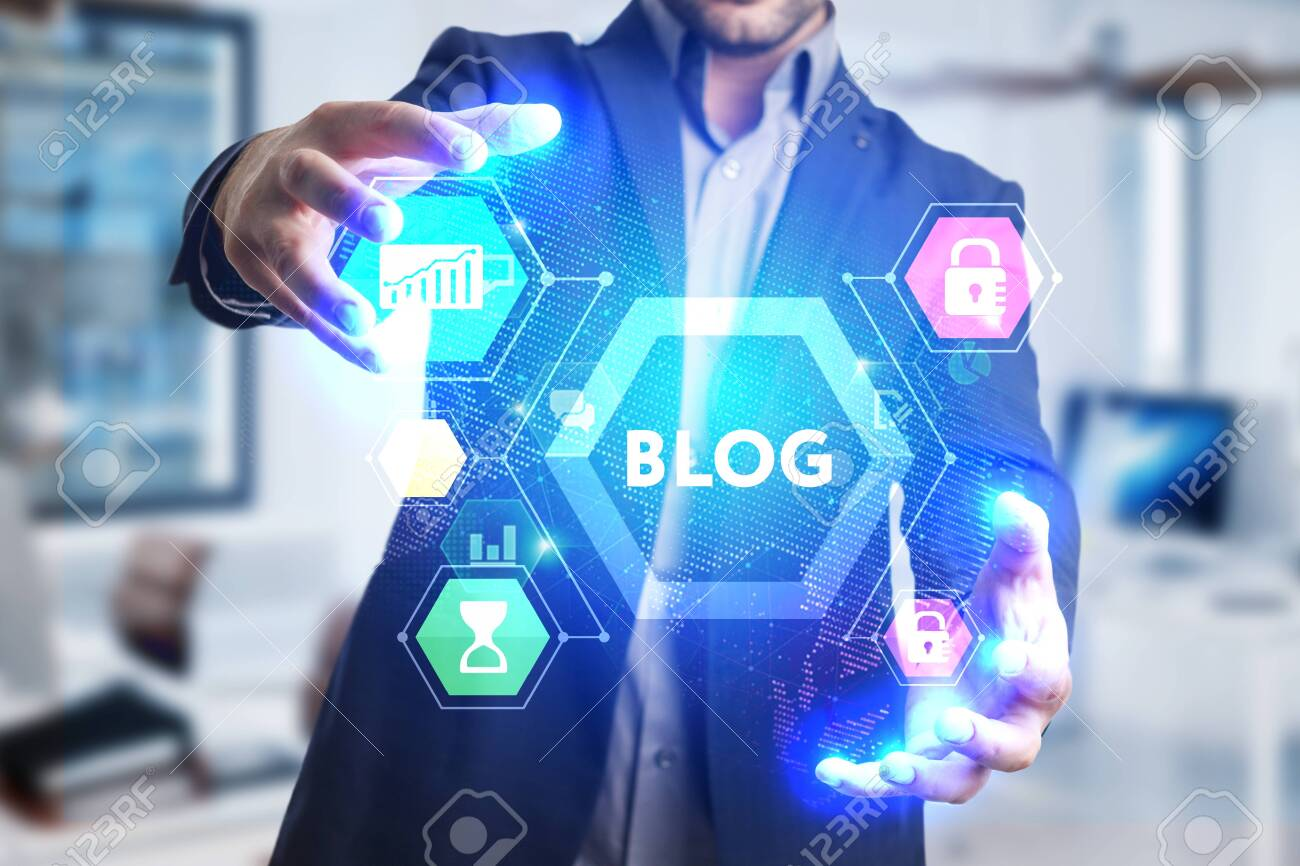 The concept of business, technology, the Internet and the network. A young entrepreneur working on a virtual screen of the future and sees the inscription: Blog - 125943104