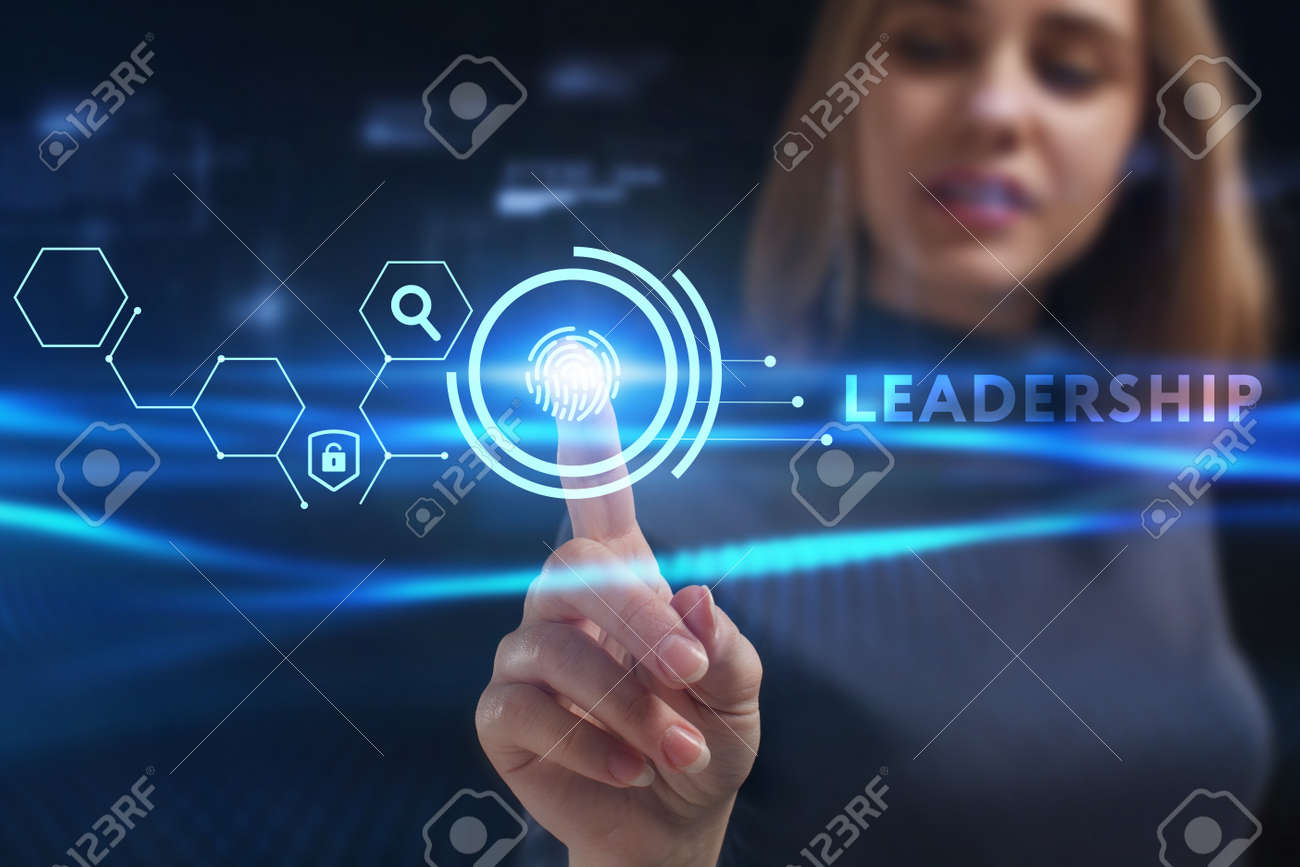 Business, Technology, Internet and network concept. Young businessman working on a virtual screen of the future and sees the inscription: Leadership - 138132761