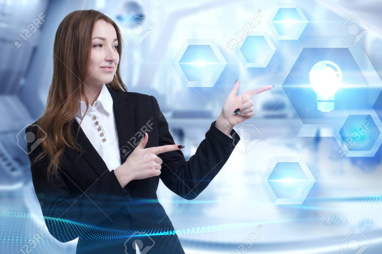 Business, Technology, Internet and network concept. Young businessman working on a virtual screen of the future and sees the inscription: - 142122417