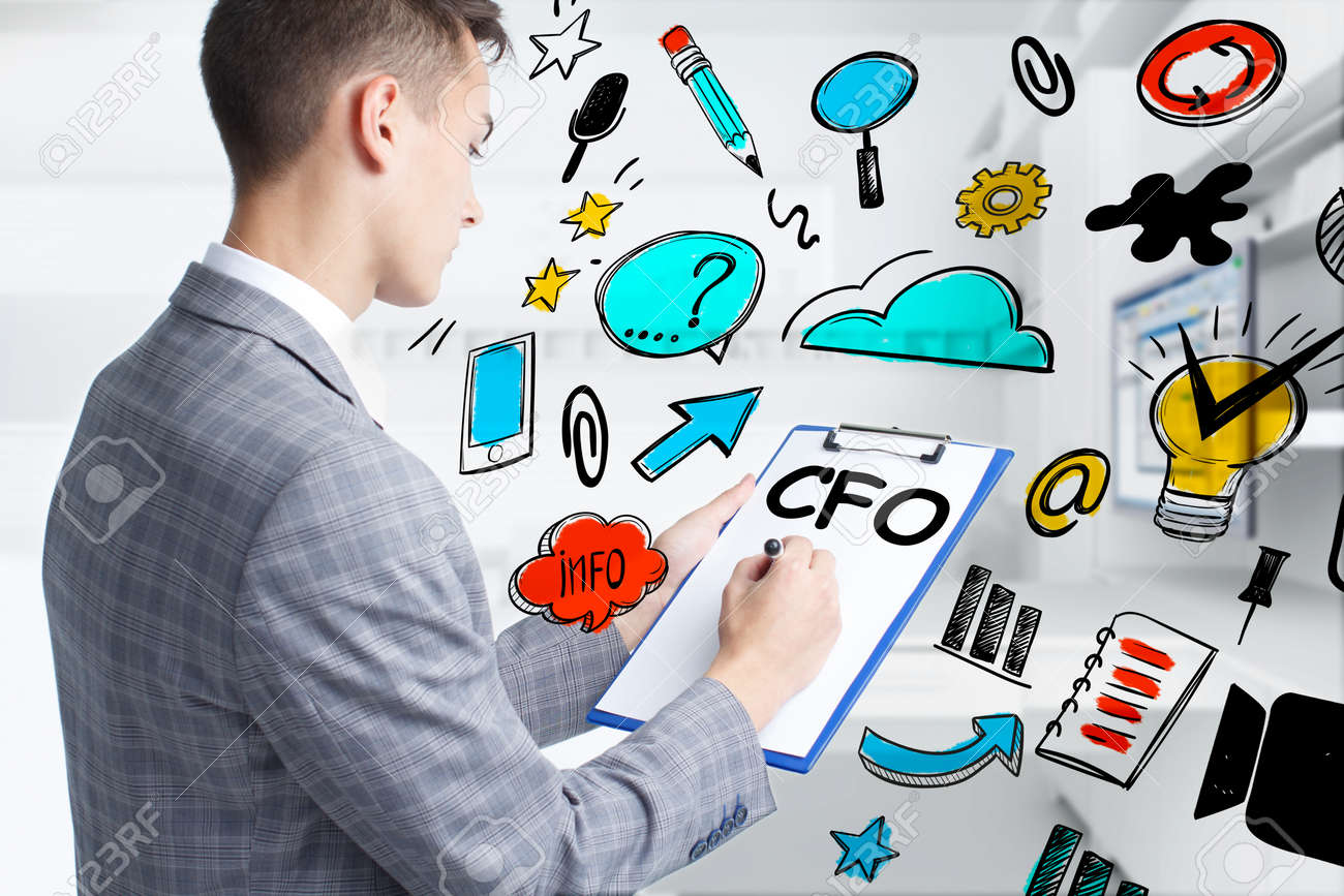 Business, technology, internet and network concept. Young businessman thinks over the steps for successful growth: CFO - 155871574