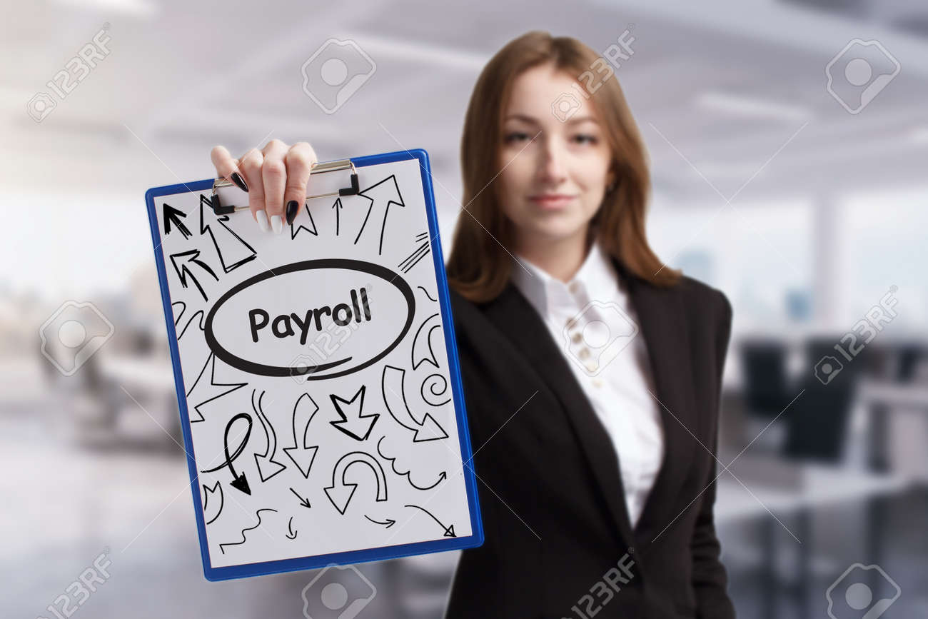 Business, technology, internet and network concept. Young businessman thinks over the steps for successful growth: Payroll - 157172950