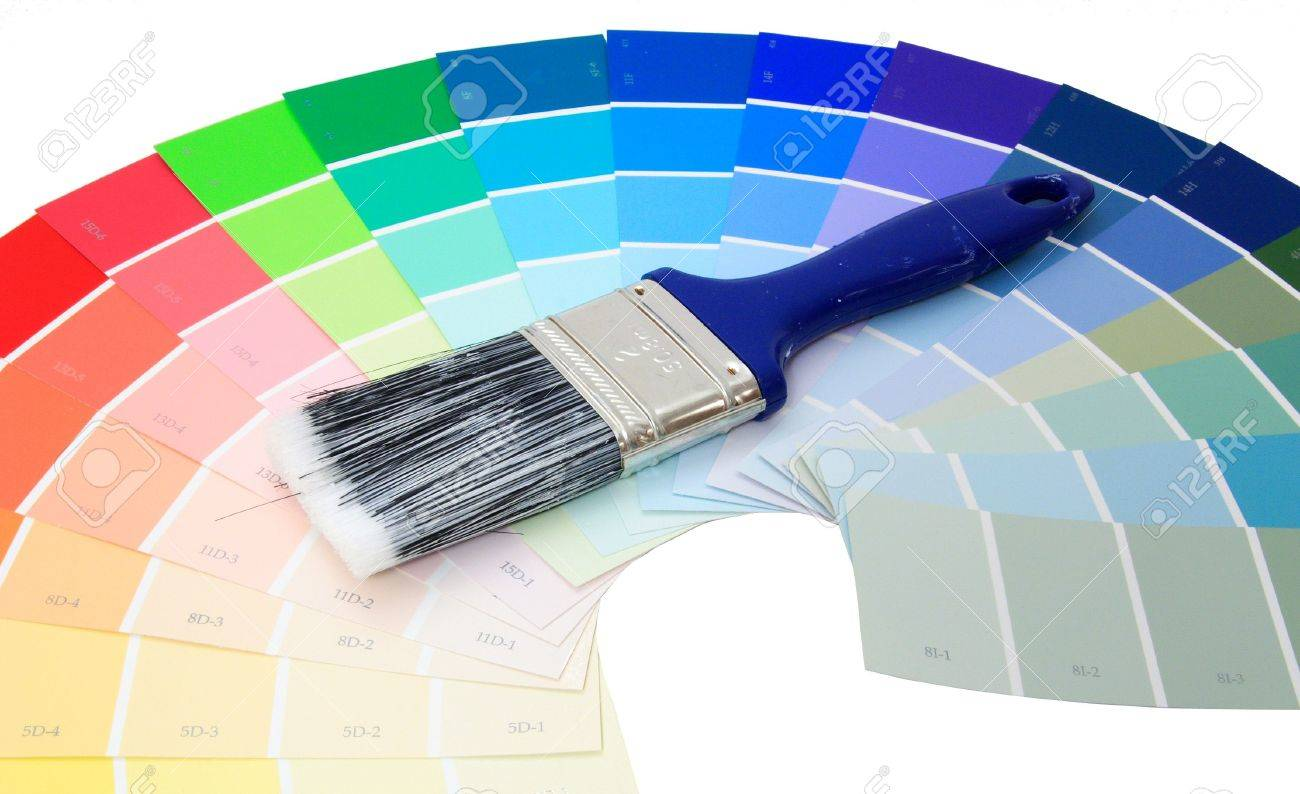 Blue paint samples - Colorful Paint Samples Over White With Paint Brush Stock Photo 475831