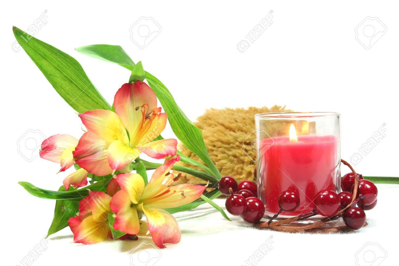 Spa wellness blumen  Wellness - Blumen Und Kerzen Auf Weißem Grund - Körperpflege ...