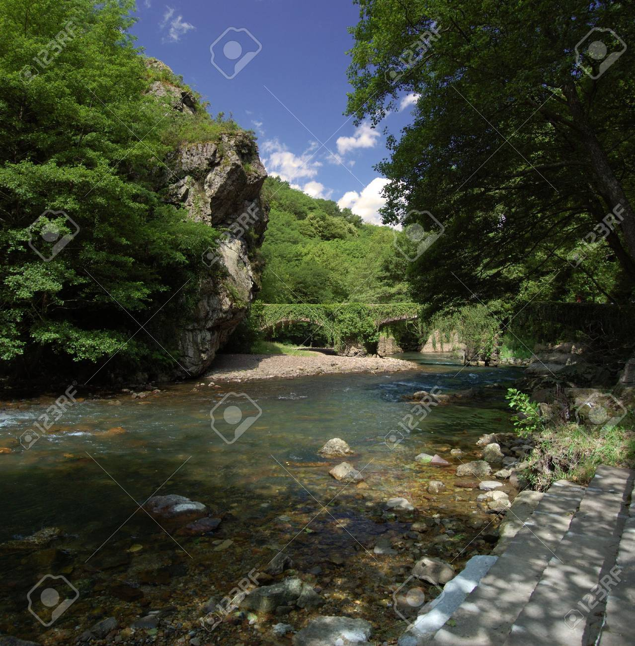 Leiza river with trees and vegetation. Leizaran Valley, Navarra and Gipuzkoa, Spain Stock Photo - 1282673