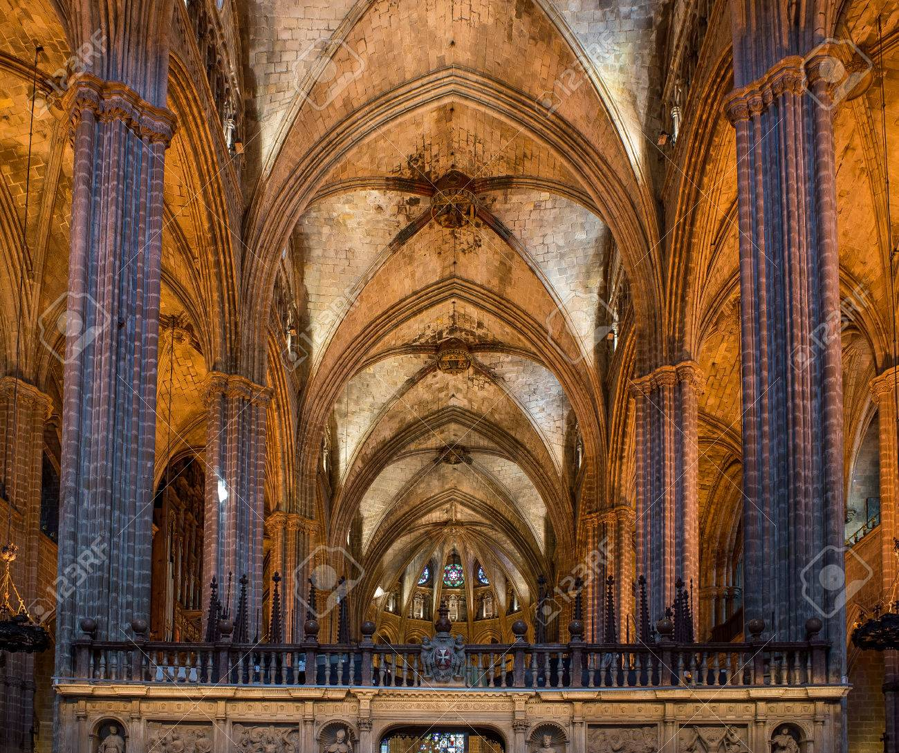 Nave Of Santa Eulalia Metropolitan Cathedral Basilica Barcelona Spain Interior View Towards