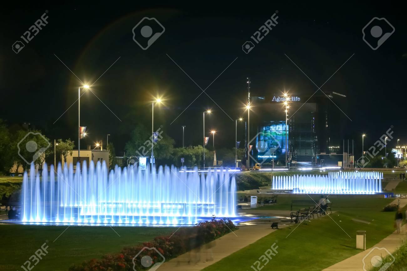 ZAGREB, CROATIA - JUNE 18, 2017 : People enjoying the water fountains