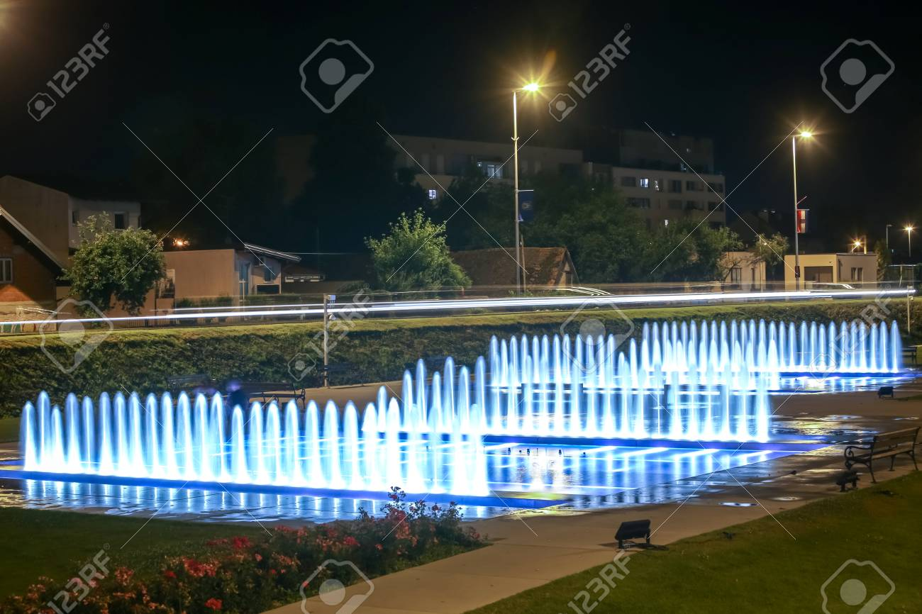 Water fountains at night in Zagreb, Croatia