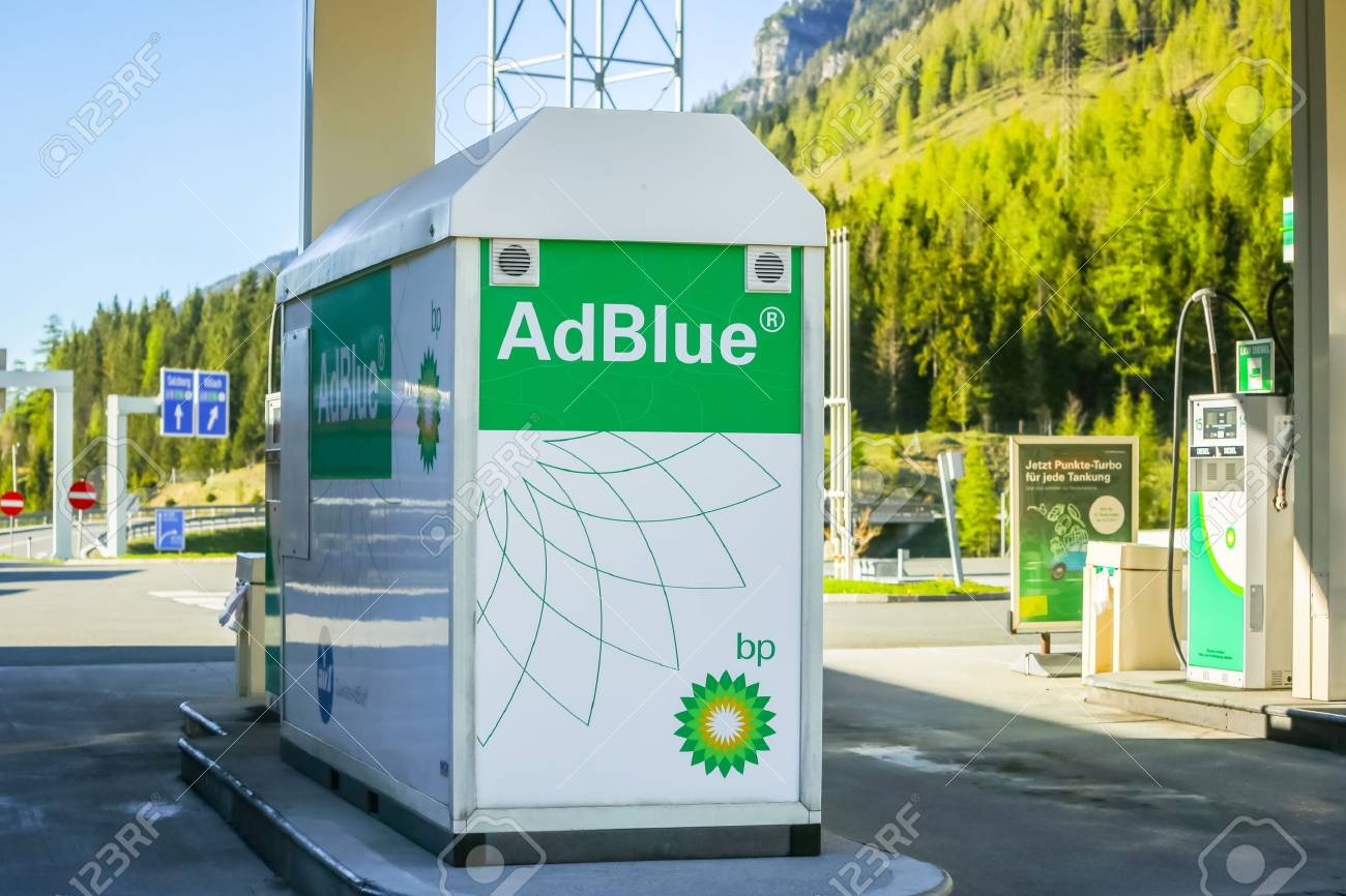 FLACHAU, AUSTRIA - MAY 10, 2017 : The AdBlue tank at the BP gas