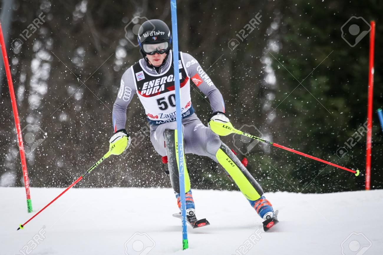 noel 2018 ski ZAGREB, CROATIA   JANUARY 4, 2018 : Noel Clement Of Fra Competes  noel 2018 ski