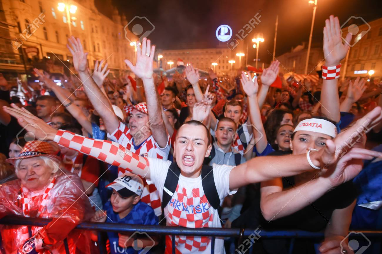 ZAGREB, CROATIA - JULY 11, 2018 : Croatian football fans celebrating